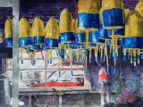 buoys hanging in shed maine 16x22