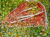 red boat in a sea of daisies 3 30x20