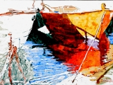 red n white dories 12x16