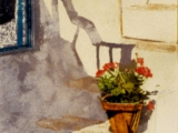 geraniums on steps mykonos 16x9.5