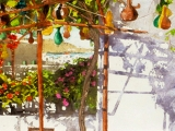 trellised gourds mykonos 8x22