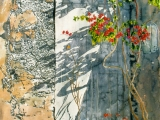 white door with bougainvillea Mykonos 30x22