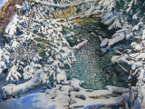 open stream with a new snowfall 24x36