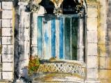 elegance of paris, sunlit balcony le marais 30x22