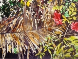 Dried colours palm frond with hibiscus 20x30